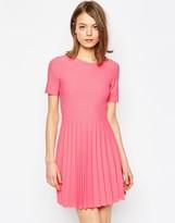 Asos Textured Pleated Mini Dress