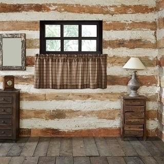 VHC Brands Tan Rustic Kitchen Curtains VHC Wyatt Tier Pair Rod Pocket Cotton Plaid