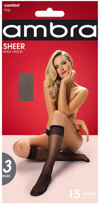 Ambra 15D Sheer Knee Highs 3 Pack SHE3PKH