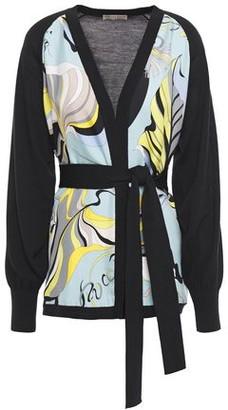 Emilio Pucci Belted Printed Silk Twill-paneled Wool Cardigan