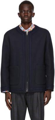 4SDESIGNS Navy Wool Cardigan Jacket