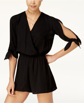 Be Bop Juniors' Lace-Trim Split-Sleeve Romper