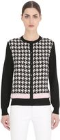 Salvatore Ferragamo Houndstooth Wool & Silk Cardigan