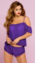 Seven Til Midnight Violet Chiffon and Lace Cami with Boxer Shorts in L