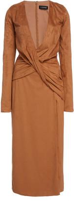 Cushnie Twisted Faux Suede Midi Dress