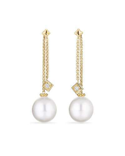 David Yurman Solari White South Sea Pearl & Diamond Chain Drop Earrings