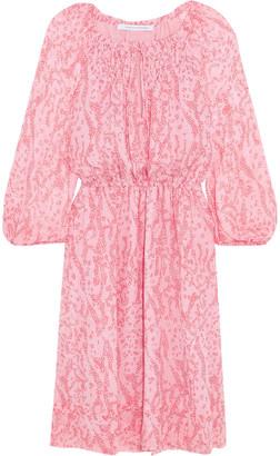 Diane von Furstenberg Parry Gathered Printed Silk-chiffon Dress