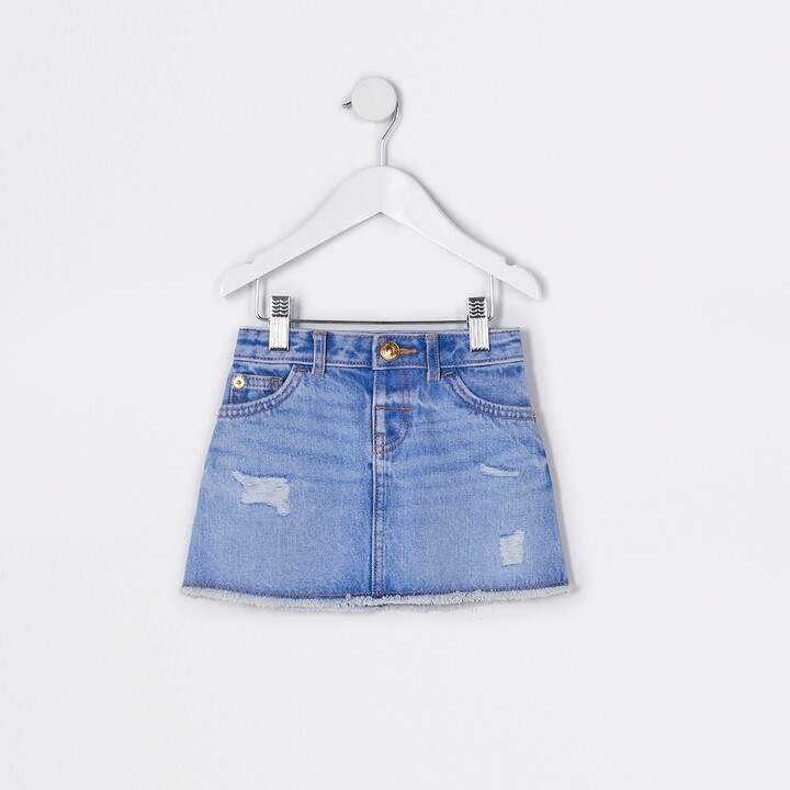 River Island Mini girls Blue ripped denim skirt