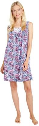 Carole Hochman Soft Jersey Sleeveless Short Gown (Navy Ditsy) Women's Pajama