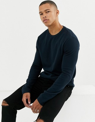 Burton Menswear long sleeve waffle top in navy