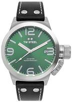 TW Steel Unisex Quartz Watch with Green Dial Analogue Display and Black Leather Strap TW942