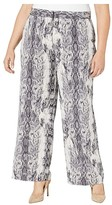 Vince Camuto Specialty Size Plus Size Demure Snake Skin Wide Leg Pin Tuck Pants (Rich Black) Women's Casual Pants