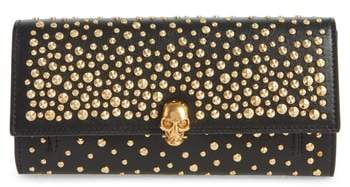 Alexander McQueen Studded Skull Leather Wallet on a Chain