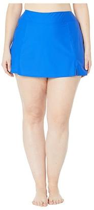 Maxine of Hollywood Swimwear Plus Size Solids Separate Waist Band Skort Bottoms (Cobalt) Women's Swimwear
