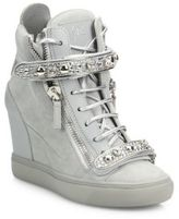 Giuseppe Zanotti Giuseppe for Jennifer Lopez 75 Double-Zip Crystal-Strap Suede Wedge Sneakers