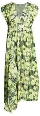 3.1 Phillip Lim Floral Print Pleated Midi Dress