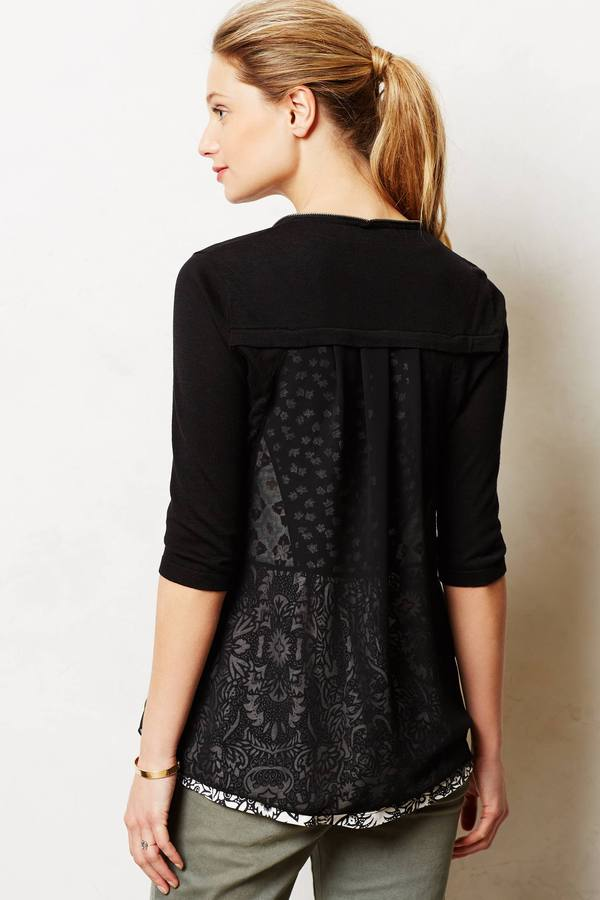 Anthropologie Stacy Chang Sheer Collage Cardigan