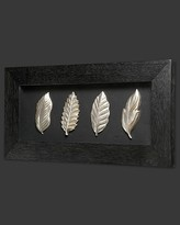 Howard Elliott Wooden Shadow Box with Carved Leaves