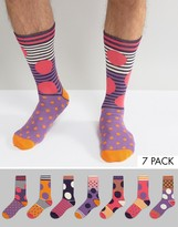 Asos Socks With Bright Spotty Design 7 Pack
