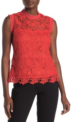 Nanette Lepore Mock Neck Sleeveless Lace Top
