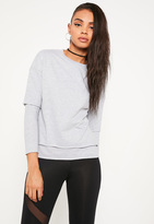 Missguided Petite Grey Double Layer Raw Edge Sweater