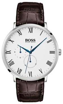 BOSS Hugo Men's William Ultra Slim Brown Leather Strap Watch 40mm