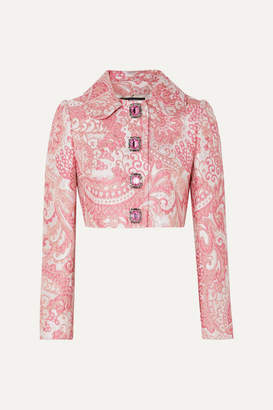 Dolce & Gabbana Cropped Crystal-embellished Metallic Brocade Jacket - Pink