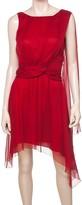 Max Studio Silk Dress With Shoulder Drape