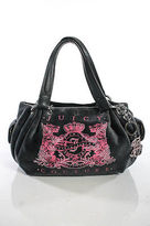 Juicy Couture Gray Suede Embellished Monogrammed Leather Trim Small Satchel Bag