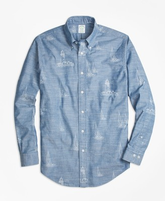 Brooks Brothers Milano Fit Lighthouse Print Sport Shirt