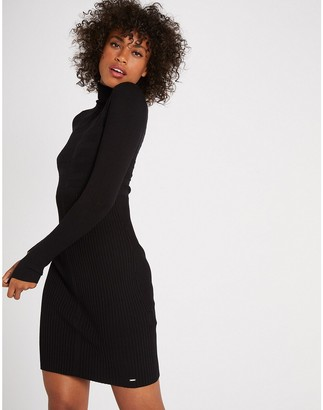 Morgan Ribbed Bodycon Dress with Turtleneck and Long Sleeves