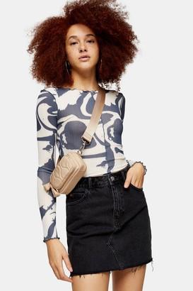 Topshop Washed Black High Waisted Denim Skirt