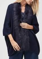 Jacques Vert Renee Faux Fur Trim Long Cardigan