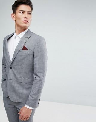 Burton Menswear Slim Suit Jacket In Grey Check