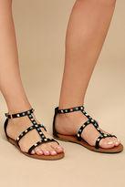 Bamboo Antonina Black Studded Gladiator Sandals