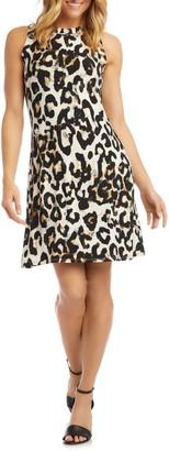Karen Kane Leopard Print Sleeveless A-Line Dress
