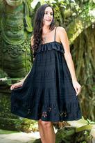 Handcrafted Floral Pin Tuck Sundress, 'Black Jasmine'