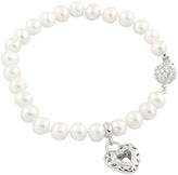 Bella Pearl Cubic Zirconia & Pearl Heart Charm Bracelet