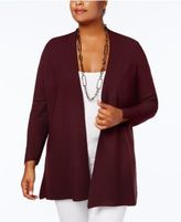 Charter Club Plus Size Textured Open-Front Cardigan, Created for Macy's