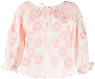 Innika Choo floral embroidered smock blouse
