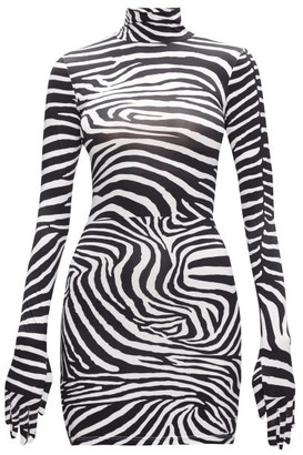 Vetements Glove-sleeved Zebra-print Jersey Mini Dress - Black White