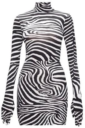 Vetements Glove-sleeved Zebra-print Jersey Mini Dress - Womens - Black White