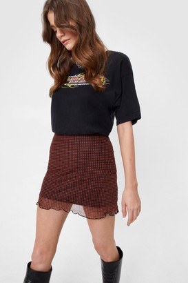 Nasty Gal Womens Gingham Mesh High Waisted Mini Skirt - Orange - 6