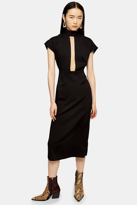 Topshop Black Plunge Tie Neck Midi Dress