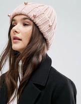 Helene Berman Chunky Knit Pearl Detail Beanie Hat