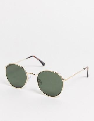 Topman round sunglasses in gold