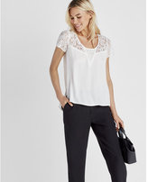 Express Lace Step Hem Crew Neck Top