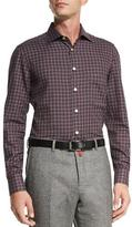 Kiton Check Dress Shirt, Gray/Red