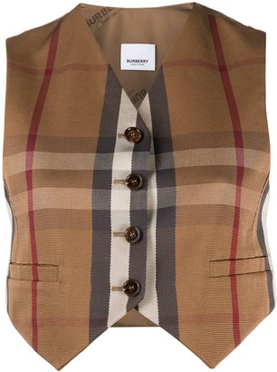 Burberry Cropped Vintage Check Waistcoat