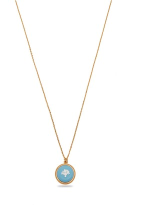 Mulberry Porcelain Tree Necklace Gold and Blue Brass and Resin
